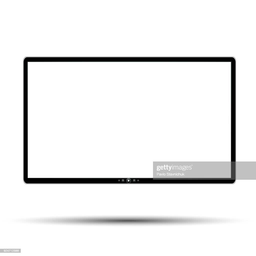 Black monitor with buttons - stock vector
