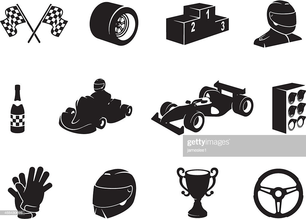 Black Motor Racing Icon Set : stock illustration