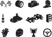 Black Motor Racing Icon Set