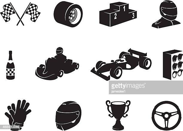 black motor racing icon set - race car stock illustrations, clip art, cartoons, & icons