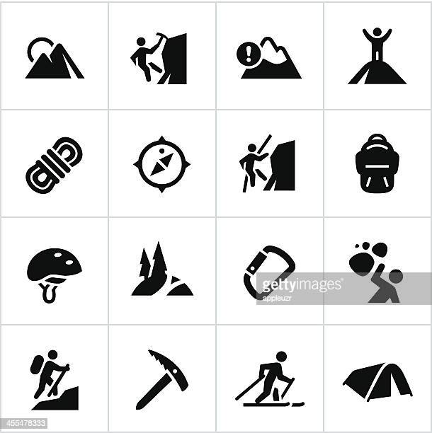 black mountaineering icons - climbing stock illustrations