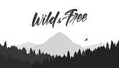 Black mountains flat landscape background with silhouette of Hawk and hand lettering of Wild and Free.