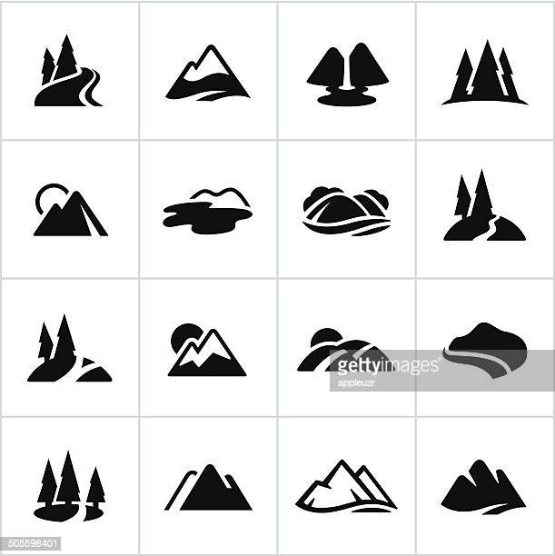 black mountains, hills and water ways icons - mountain stock illustrations, clip art, cartoons, & icons