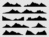 Black mountains silhouettes. Ranges skyline, high mountain hike landscape, alpine peaks. Extreme hiking vector nature border set