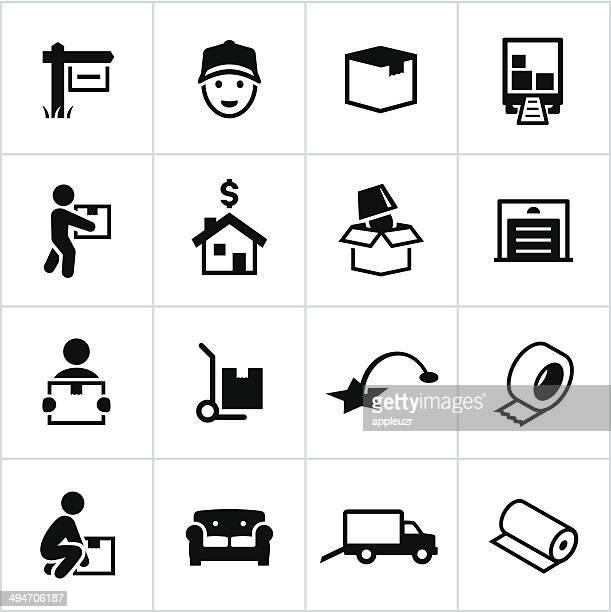 illustrations, cliparts, dessins animés et icônes de mouvement icônes noir - déménagement