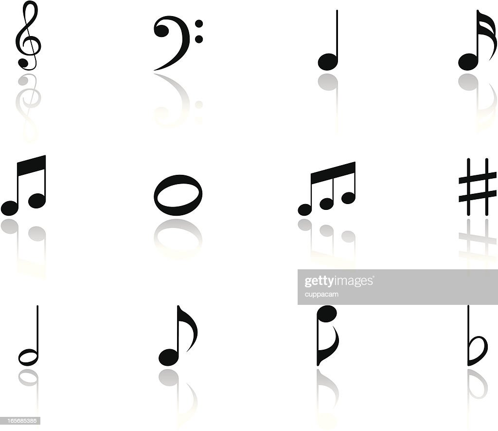 Black Music Notes Icon Symbols with reflection