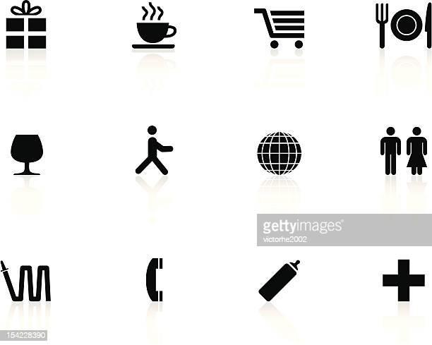 black n white icons - shopping center - gift shop stock illustrations