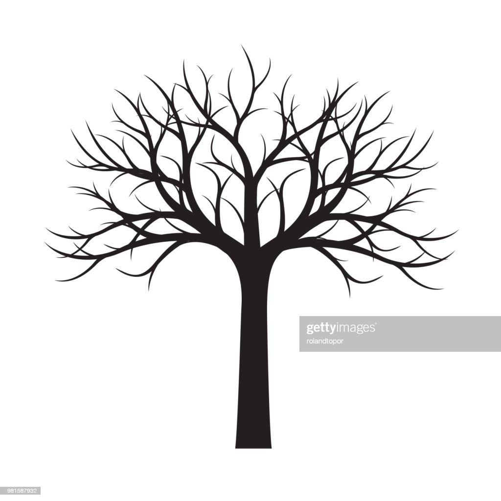 Black naked Tree. Vector Illustration