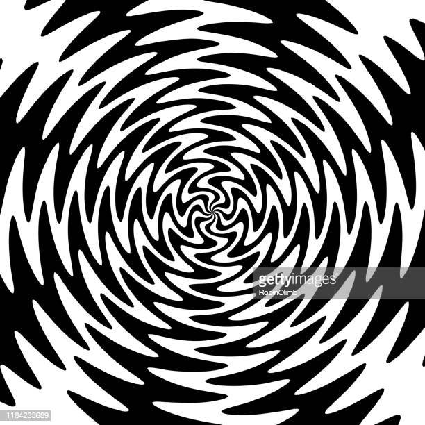 illustrazioni stock, clip art, cartoni animati e icone di tendenza di black nd white psychedelic twist background - ricciolo