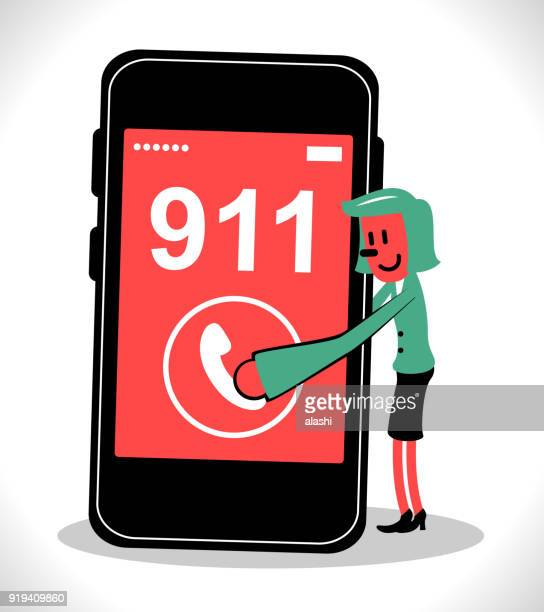 Black nose characters design, businesswoman pressing (pushing, touching, clicks) phone button to call 911, emergency call