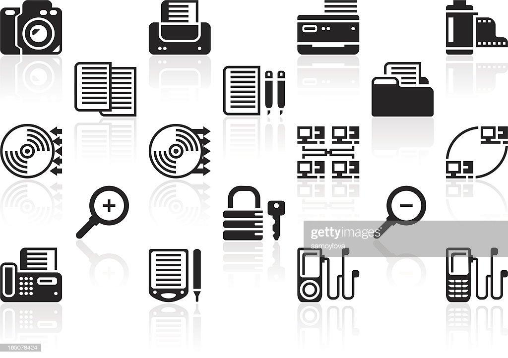 Black office icon set