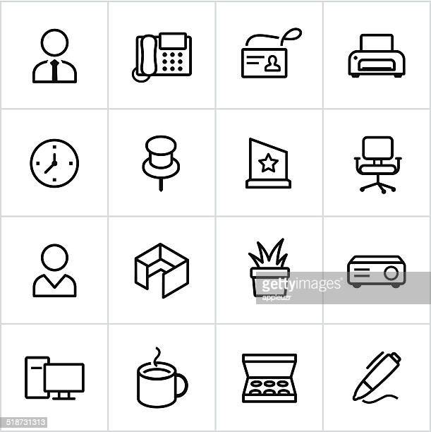 Black Office Icons - Line Style