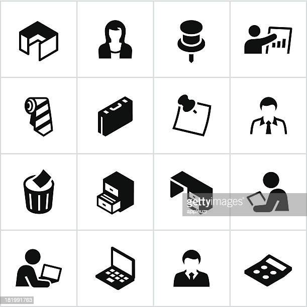 black office icons - post it stock illustrations, clip art, cartoons, & icons