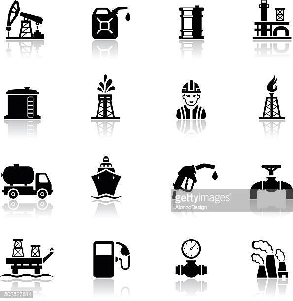 black oil and petrol industry icon set - oil tanker stock illustrations, clip art, cartoons, & icons