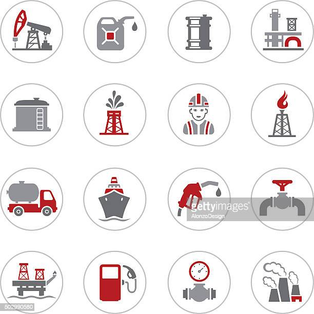 black oil and petrol industry icons - fuel station stock illustrations, clip art, cartoons, & icons
