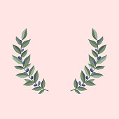 Black olive branches wreath on a dust pink background. Frame from olive leaves. Vintage wreath heraldic design element with floral frame made up of olive branches