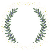 Black olive branches wreath on a white background with golden dust. Frame from olive leaves. Vintage wreath heraldic design element with floral frame made up of olive branches