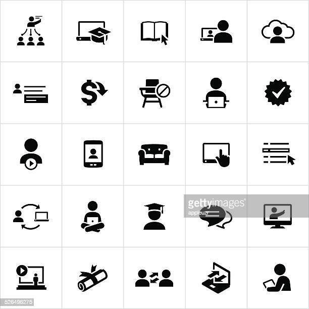 black online education and e-learning icons - cyberspace stock illustrations, clip art, cartoons, & icons