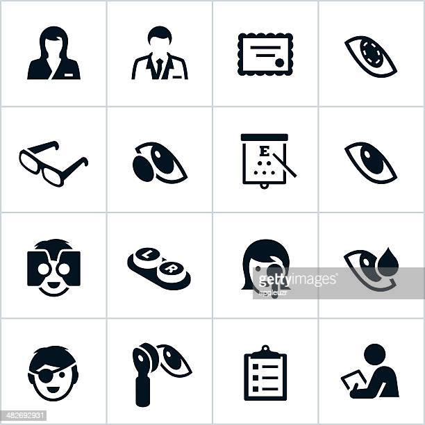 black optometry icons - ophthalmology stock illustrations, clip art, cartoons, & icons
