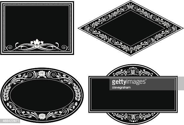 black ornate frames and labels - memorial plaque stock illustrations, clip art, cartoons, & icons