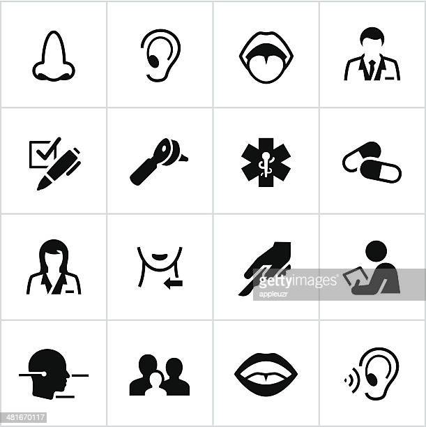 black otolaryngology icons - mouth stock illustrations, clip art, cartoons, & icons