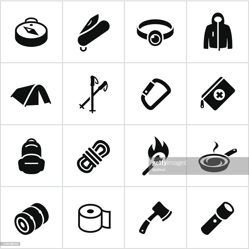 Black Outdoor Gear Icons : stock illustration