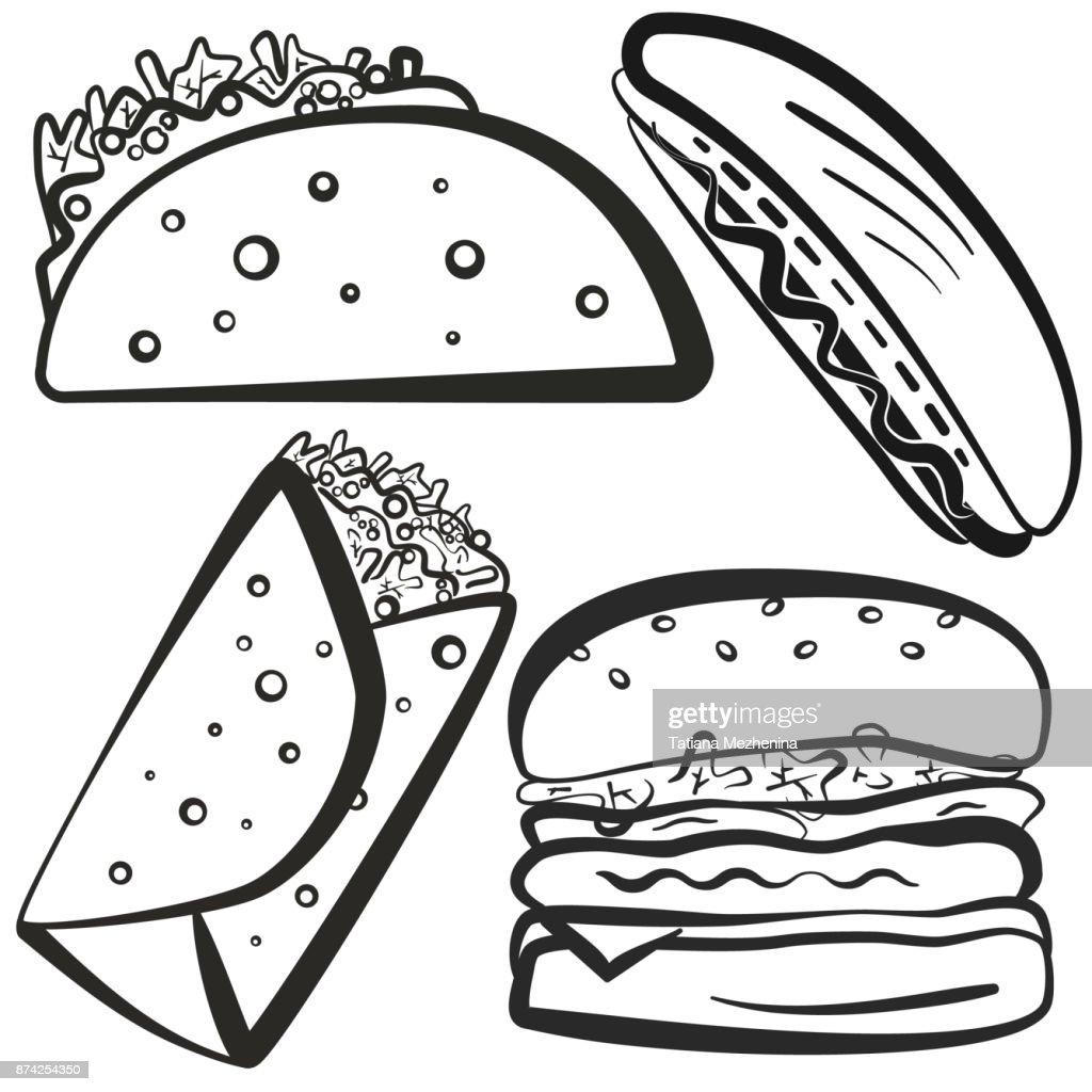 Black Outline Fast Food Symbols Set Vector Art Getty Images