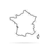 black outline hand drawn map of france