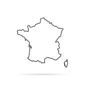 black outline hand drawn map of france