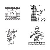 Black outline vector icons for rope jumping