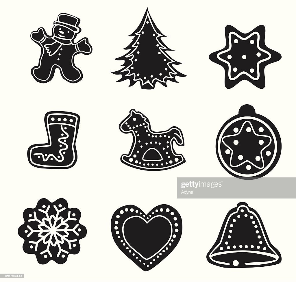 Black Outlines Of Christmas Decorations Vector Art