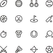 Black outlines of sports icons on a white background
