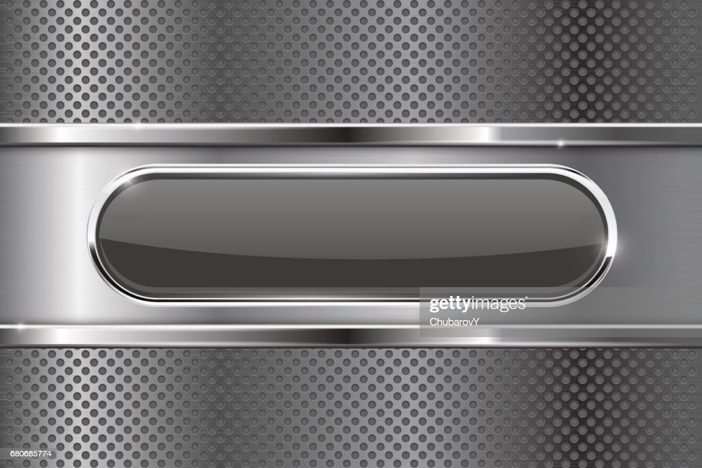 Black oval button on metal background