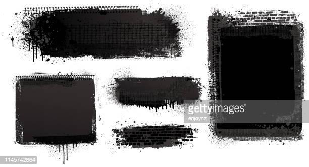 hintergründe für schwarze farbe - sprühfarbe stock-grafiken, -clipart, -cartoons und -symbole