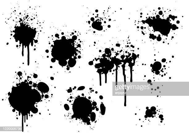 schwarze farbspritzer - schwarz farbe stock-grafiken, -clipart, -cartoons und -symbole