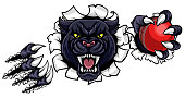 Black Panther Cricket Mascot Breaking Background