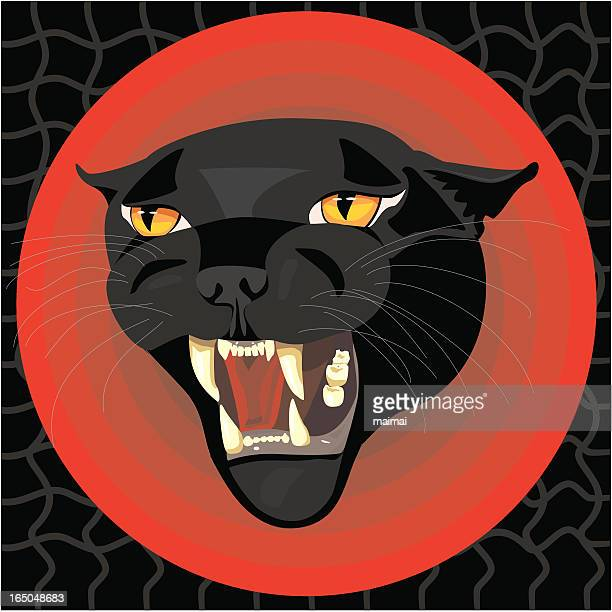 black panther head - dangerous - cartoon characters with big teeth stock illustrations