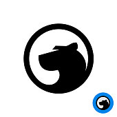 Black panther head symbol in a round badge.