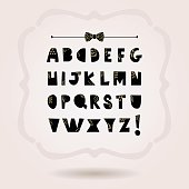 Black paper cut capital letters alphabets set icons on pink