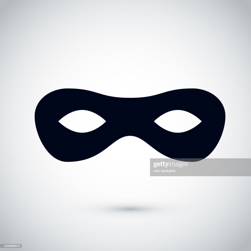 Black party mask. Festival mask icon. Carnival incognito masque. Vector illustration isolated on white background