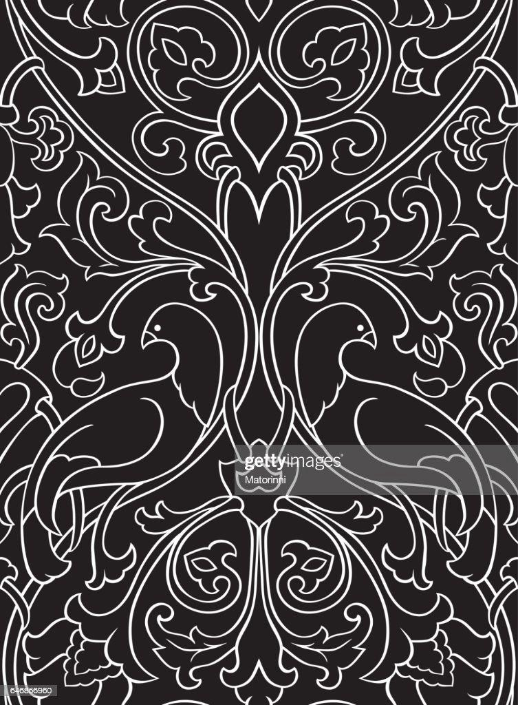 Black pattern with birds.