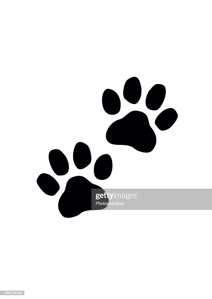Black Paw Prints. Vector illustration.