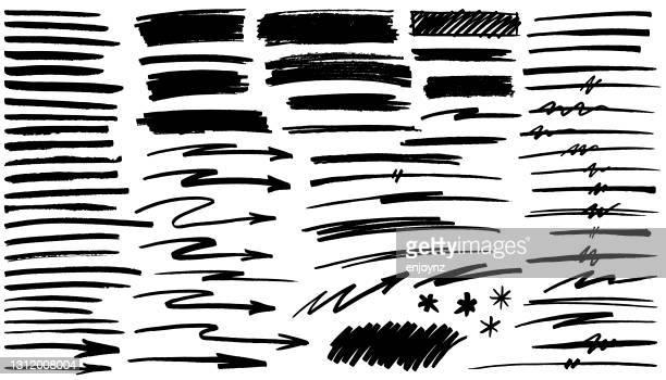 black pen marker shapes - scribble stock illustrations