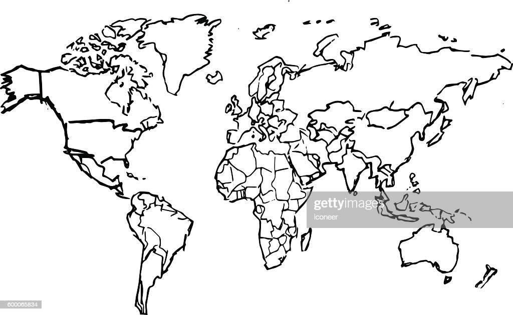 Black Pencil Drawing Sketched World Map On White Background Vector
