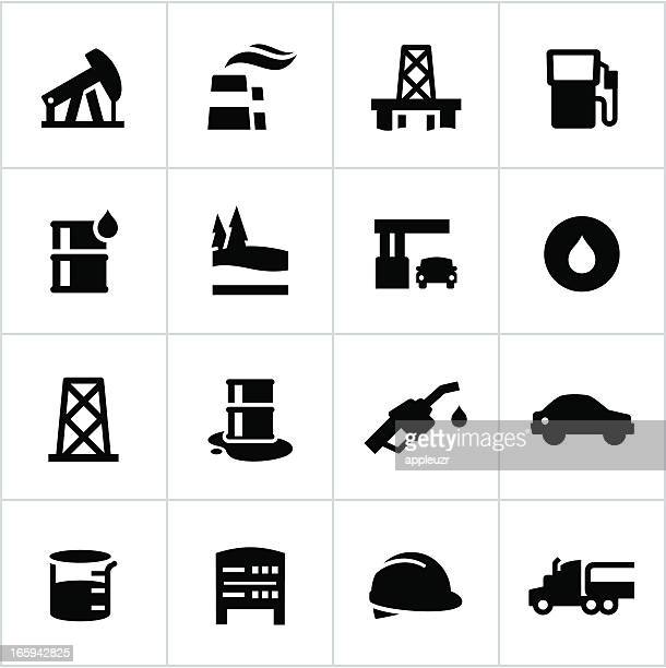 black petroleum industry icons - spill stock illustrations, clip art, cartoons, & icons