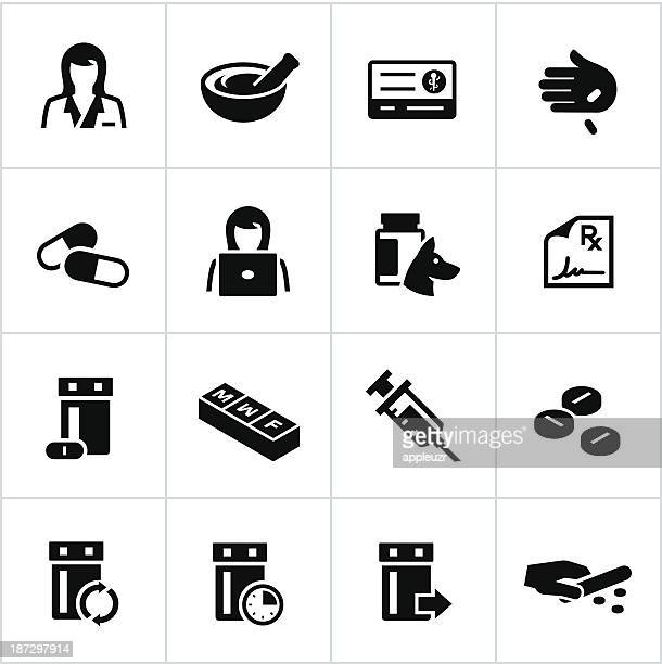black pharmacy icons - prescription stock illustrations, clip art, cartoons, & icons