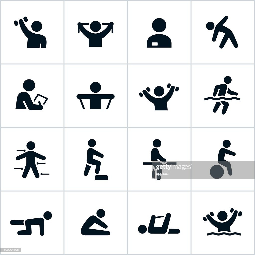 Black Physical Therapy Icons : stock illustration