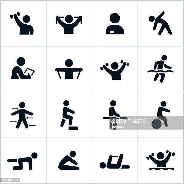 black physical therapy icons - stretching stock illustrations, clip art, cartoons, & icons