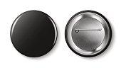 Black pin button, vector.