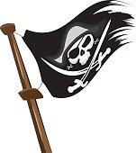 Black pirate flag at mast.